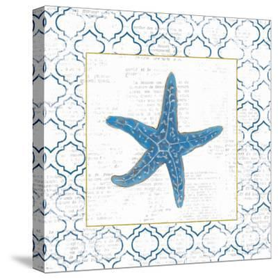 Navy Starfish on Newsprint with Gold-Emily Adams-Stretched Canvas Print