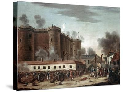 Storming of the Bastille, 14th July 1789-French School-Stretched Canvas Print