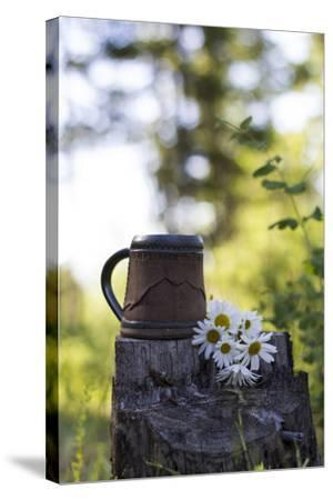 A Coffee Cup Sits In An Old Stump In The Woods Next To A Bouquet Of Daisies Summer In Montana-Hannah Dewey-Stretched Canvas Print