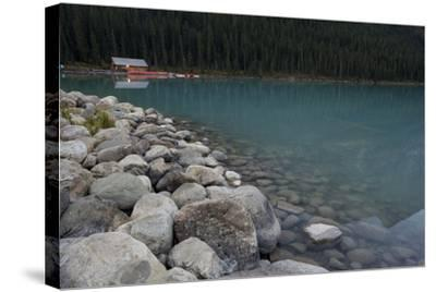 Cabin On Lake Louise-Lindsay Daniels-Stretched Canvas Print