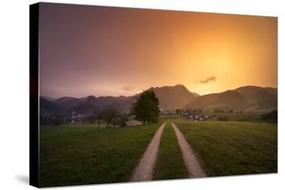 Europe, Slovenia, Skofja Loka, Setting Sun During A Thunderstorm At The Surrounding Of Skofja Loka-Aliaume Chapelle-Stretched Canvas Print