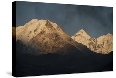 Smoke From A Village Home Passes Over The Mountains In Dingboche Nepal-Rebecca Gaal-Stretched Canvas Print