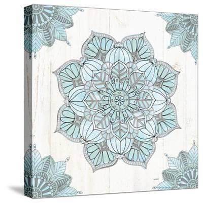Mandala Morning V Blue and Gray-Anne Tavoletti-Stretched Canvas Print