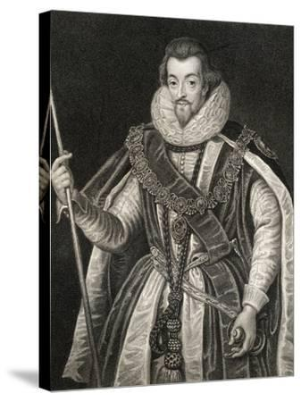 Portrait of Robert Cecil, 1st Earl of Salisbury (1563-1612), from 'Lodge's British Portraits', 1823-English School-Stretched Canvas Print