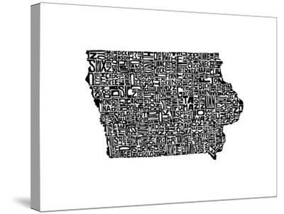 Typographic Iowa-CAPow-Stretched Canvas Print