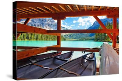 Boathouse on Emerald Lake, Canada-George Oze-Stretched Canvas Print