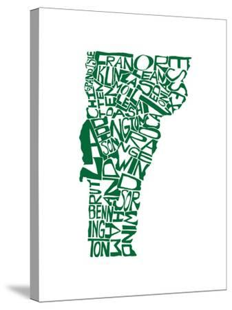 Typographic Vermont Green-CAPow-Stretched Canvas Print