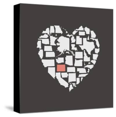 Black USA Heart Graphic Print Featuring Colorado-Kindred Sol Collective-Stretched Canvas Print