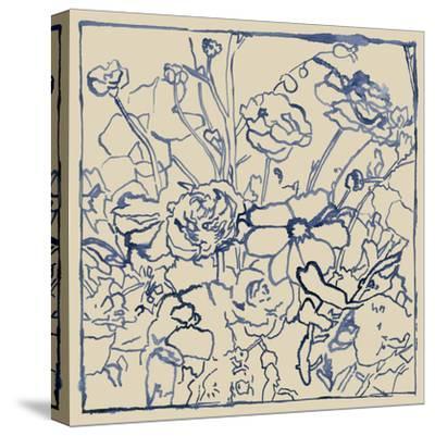 Indigo Floral Sketch II-Megan Meagher-Stretched Canvas Print