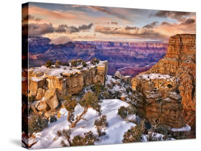 Snowy Grand Canyon V-David Drost-Stretched Canvas Print