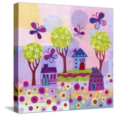 Springtime Houses-Kim Conway-Stretched Canvas Print