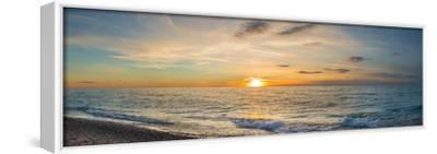 Sunset over Lake Michigan, Benzie County, Frankfort, Michigan, USA--Framed Stretched Canvas Print
