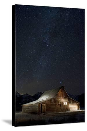 Light Painting of Old Barn on Mormon Row under a Star-Filled Sky-Bob Smith-Stretched Canvas Print