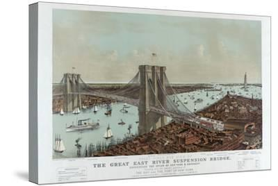 Grand Birds Eye View of the Great East River Suspension Bridge by Currier & Ives-Fine Art-Stretched Canvas Print