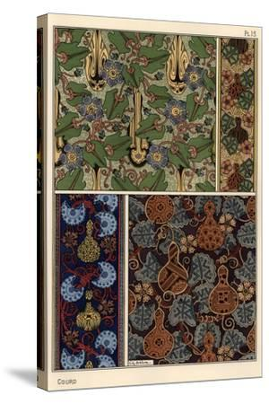 Gourd in fabric and wallpaper patterns.--Stretched Canvas Print