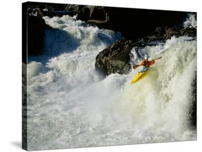 High angle view of a person kayaking in rapid water--Stretched Canvas Print