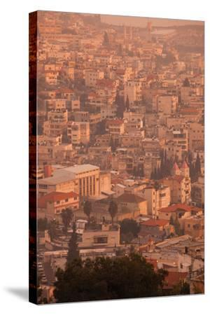 High angle view of a city, Nazareth, Galillee, Israel--Stretched Canvas Print