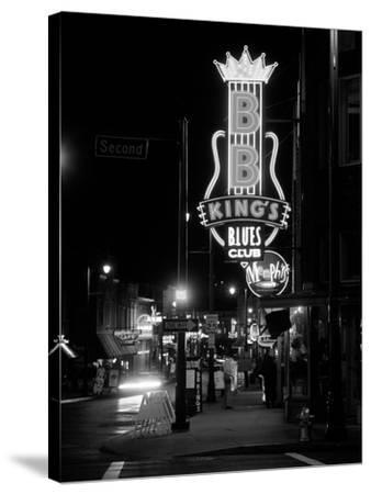 Neon sign lit up at night, B. B. King's Blues Club, Memphis, Shelby County, Tennessee, USA--Stretched Canvas Print