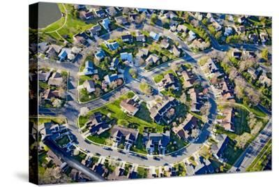 Aerial pattern of residential homes in circle outside of Philadelphia Pennsylvania, New Jersey--Stretched Canvas Print