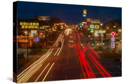 Neon lights along Highway 22 in Central Georgia--Stretched Canvas Print