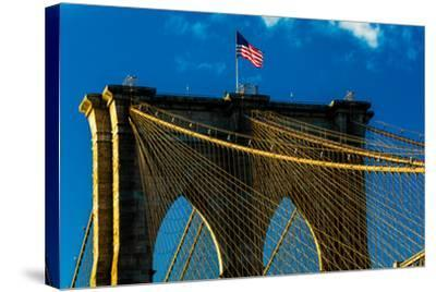 Brooklyn Bridge at sunset, NY NY - in black and white--Stretched Canvas Print