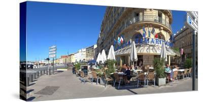 People at sidewalk cafe, Marseille, Bouches-Du-Rhone, Provence-Alpes-Cote D'Azur, France--Stretched Canvas Print
