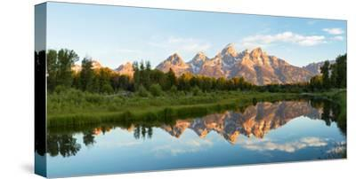 River with Teton Range in the background, Grand Teton National Park, Wyoming, USA--Stretched Canvas Print