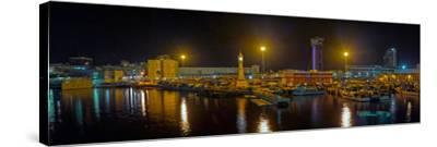 Port Vell at night, Barcelona, Catalonia, Spain--Stretched Canvas Print