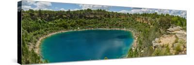 Elevated view of the lagoon, Lagunas de Canada del Hoyo, Serrania de Cuenca, Cuenca, Castilla-La...--Stretched Canvas Print