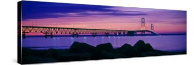 Mackinac Bridge at dusk, Mackinac, Michigan, USA--Stretched Canvas Print