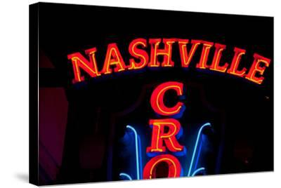 """Red Neon Sign Nashville Crossroads, """"Music City"""", Lower Broadway Area, Nashville, Tennessee, USA--Stretched Canvas Print"""
