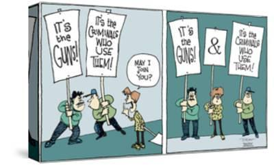 It's the guns!  and  It's the criminals who use them!-Signe Wilkinson-Stretched Canvas Print