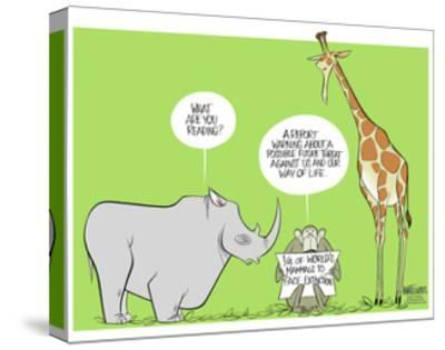 What are you reading? A report warning about possible future threat against us and our way of life.-Ann Telnaes-Stretched Canvas Print