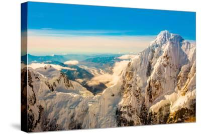 Flightseeing through peaks of Mt. Denali and the Alaskan mountain range, Alaska, USA, North America-Laura Grier-Stretched Canvas Print