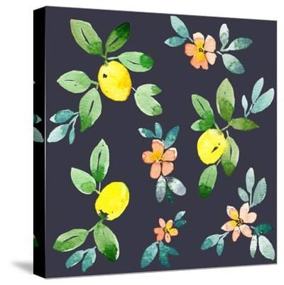 Lemons - Navy-Elise Engh-Stretched Canvas Print