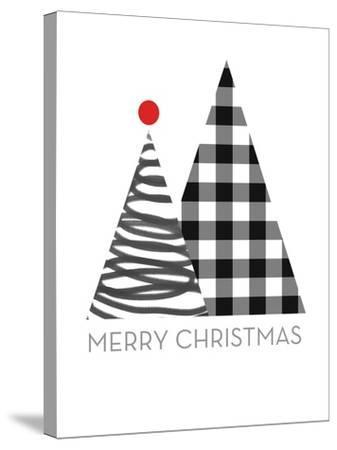 Modern Merry Christmas-Linda Woods-Stretched Canvas Print