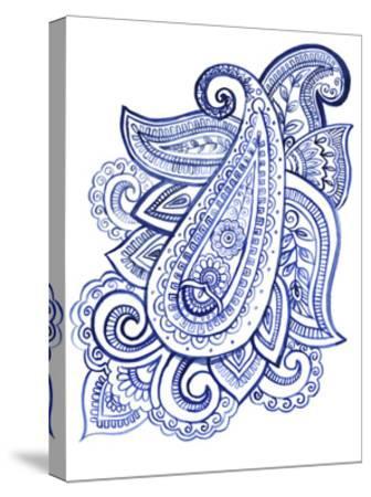 Indigo Paisley III--Stretched Canvas Print