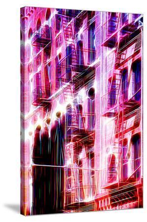 Manhattan Shine - Red Facade-Philippe Hugonnard-Stretched Canvas Print