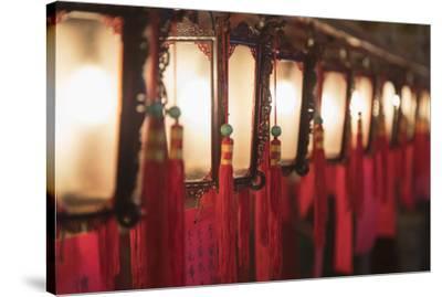 Lanterns at Man Mo Temple, Sheung Wan, Hong Kong Island, Hong Kong, China-Ian Trower-Stretched Canvas Print
