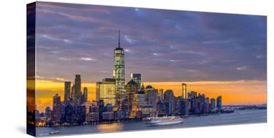 USA, New York, Manhattan, Lower Manhattan and World Trade Center, Freedom Tower across Hudson River-Alan Copson-Stretched Canvas Print