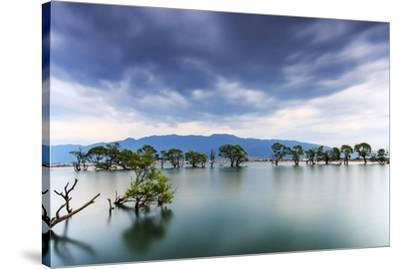 Sunset over one of the many lakes in the village of Heqing in Yunnan, China-ClickAlps-Stretched Canvas Print