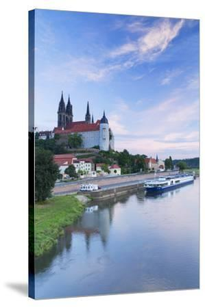 Cathedral, Albrechtsburg and River Elbe, Meissen, Saxony, Germany-Ian Trower-Stretched Canvas Print