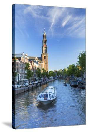 Prinsengracht canal and Westerkerk, Amsterdam, Netherlands-Ian Trower-Stretched Canvas Print
