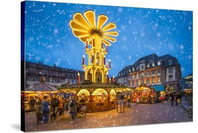 Christmas market on the marketplace in Heidelberg, Baden-Württemberg, Germany-Jan Christopher Becke-Stretched Canvas Print