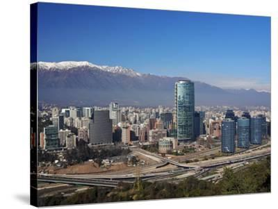 Chile, Santiago, View from the Parque Metropolitano towards the high raised buildings in financial -Karol Kozlowski-Stretched Canvas Print