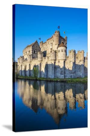 Belgium, Flanders, Ghent (Gent). Gravensteen castle, 12th century medieval castle on the Leie River-Jason Langley-Stretched Canvas Print