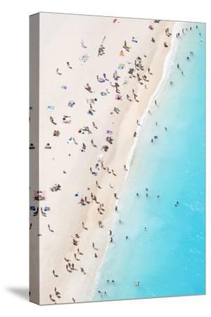 Aerial view of beach in summer with people. Zakynthos, Greek Islands, Greece-Matteo Colombo-Stretched Canvas Print