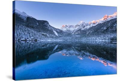 Tovel lake  Europe, Italy, Trentino Alto Adige, Trento district, Tovel valley, Non valley, Tuenno c-ClickAlps-Stretched Canvas Print
