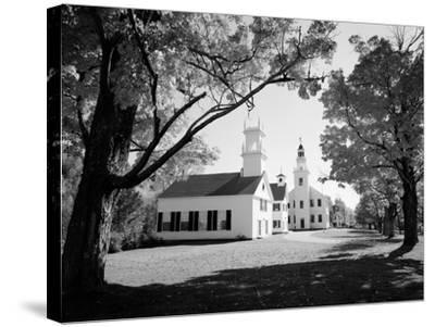 1960s Church and Local Buildings in the Town Square of Washington New Hampshire--Stretched Canvas Print