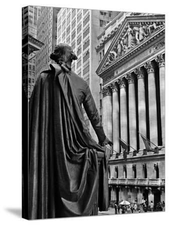 1970s New York City Stock Exchange on Wall Street from Federal Hall Behind George Washington Statue--Stretched Canvas Print